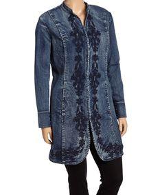 Loving this Medium Wash Denim Embroidered Long Jacket on #zulily! #zulilyfinds