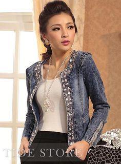 Crochet sleeve denim jacket | Fashion | Pinterest | Denim jackets ...