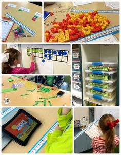 1st Grade Math Center Ideas: Great ideas for how she sets up Guided Math in her classroom and easy math centers!