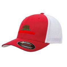 64029d88efd California State Republic Flag Mesh Flexfit Bear Yupoong Adult Retro  Trucker Cap Hat 6006