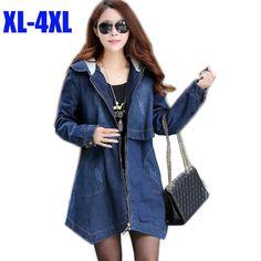2015 Autumn Winter plus size fashion hooded denim trench coat long warm padded women jacket jeans outwear top asymmetrical XXXXL