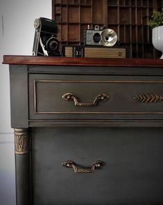 """112 Likes, 18 Comments - Krissy Pastore (@colorfulhomedesigns) on Instagram: """"Vintage Empire Style dresser finished in Annie Sloan Chalk Paints. I mixed Coco & Graphite to get…"""" #refurbishedfurniture"""