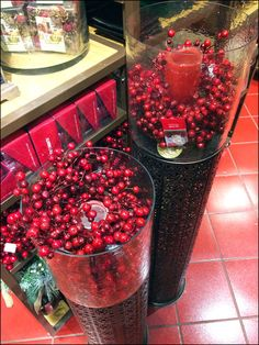Perforated Pedestals With Holly Berry Glass Container