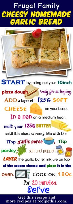 Welcome to my frugal family cheesy homemade garlic bread recipe. After yesterday and showing you how to make a homemade bolognese pizza from scratch and ho Homemade Chilli Recipe, Homemade Garlic Bread, Best Bread Recipe, Bread Recipes, Homemade Bolognese, Garlic Bread From Scratch, Easy Meals For Two, Frugal Family, Pizza
