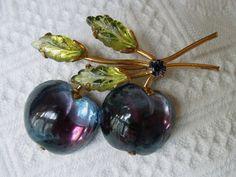 Austria Vintage Glass Fruit Brooch Plum Blue Cherry Pin Peridot w Purple Signed   eBay