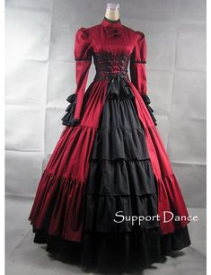 Red and Burgundy Lace Gothic Style Dress (Available in Other Color Combos & Plus Sizes)