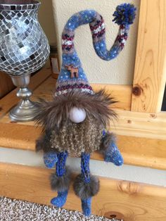 Repurposed wool sweater felted Blue Gnome by HeidisGnomes on Etsy
