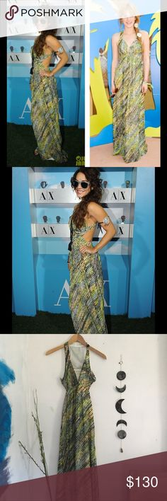 Celebrity Favorite Armani Printed Maxi Dress Dress like Vanessa Hudgens and Bella Thorne with the exact same dress! This Armani Exchange maxi dress has a colorful diagonal print and cut out back. Question of the day: Who do you think wore it better? #teamvanessa #teambella Armani Exchange Dresses Maxi