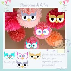 Printables for pom poms animated Plantillas para decorar tus pom poms follow me in facebook sigueme en facebook https://www.facebook.com/pages/Fiesta-Papel-y-Tijera/317579408368385
