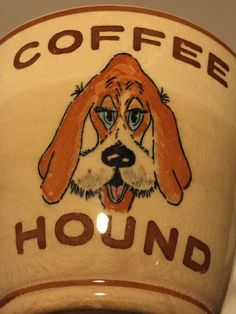 Vintage Coffee Hound Dog Large Mug Brown Japan Cup Blue Eyes RARE | eBay