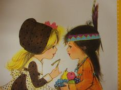 Giving Thanks for Friendship Vintage Greeting Card--charming!
