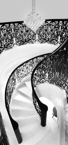 The ideas on spiral staircase design you are about to see cover different styles, yet mostly modern and contemporary, and those are the preferred styles for new homeowners. Grand Staircase, Spiral Staircase, Staircase Design, White Staircase, Interior Staircase, Stair Design, Stair Steps, Stair Railing, Railings