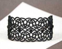 Black lace cuff bracelet Terpsichore chic elegant statement