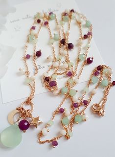 Spring necklace with gold chain, pomegranate red beads, aqua beads, and pendant stones . Eye Jewelry, Jewelry Tools, Charm Jewelry, Gemstone Jewelry, Jewelry Necklaces, Jewelry Making, Jewellery, Handmade Necklaces, Handcrafted Jewelry