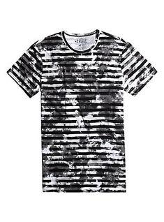 XXX RUDE Striped Bleach Wash T-Shirt 91486ece38c