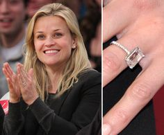 Pin for Later: The Very Best Celebrity Engagement Rings Reese Witherspoon Reese Witherspoon announced her engagement to Jim Toth in December He gave her a gorgeous, four-carat ring. Celebrity Rings, Celebrity Engagement Rings, Celebrity Jewelry, Kate Middleton Ring, Emerald Wedding Rings, Wedding Rings Vintage, Wedding Bands, Engagement Ring Pictures, Engagement Jewelry