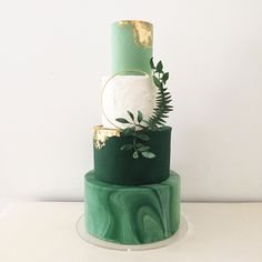 """Gilded Greenery"" Botanical inspired green marble wedding cake with edible rose gold leaf and foliage wreath by Blossom & Crumb"
