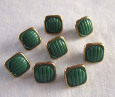 8 Czech Green Glass Buttons  7/16 Square   by JanesVintageToo, $9.00