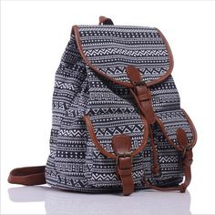 Exclusive New Arrival Handmade Black and White Bohemian Retro Printing Canvas Backpack Escolares Bolsas Mochilas Femininas - TMACHE