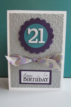 Birthday Card-Handmade cards embossed greeting by HabitatHaven