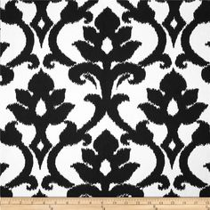 Tempo Damask White/Black from @fabricdotcom  Screen printed on cotton duck; this versatile, medium weight fabric is perfect for window accents (draperies, valances, curtains and swags), accent pillows, bed skirts, duvet covers, slipcovers, upholstery and other home decor accents. Create handbags, tote bags, aprons and more. Colors include black and bright white.