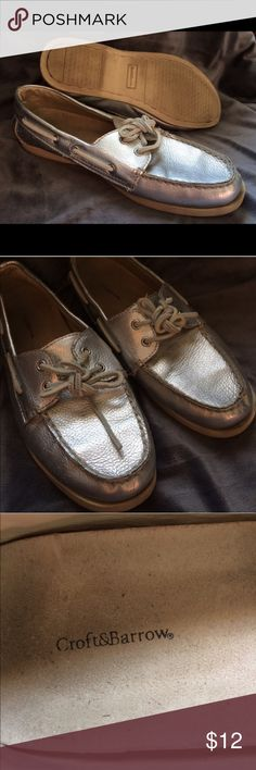 🎈3 for $15🎈Silver dock shoes Croft & Barrow silver ladies dock shoes. Light tread wear, lots of life left! From a smoke free home. Bundle and make an offer to get the best deal! Sperry for exposure Sperry Shoes
