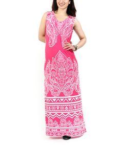 Pink & White Paisley V-Neck Maxi Dress - Plus #zulily #zulilyfinds