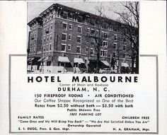 Hotel Malbourne Durham NC 150 Rooms Bath Optional Photo 1956 Travel Tourism AD