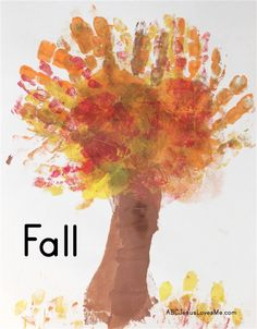 Four Seasons Handprint Crafts   ABCJesusLovesMe.com  #handprint #autumn #fall