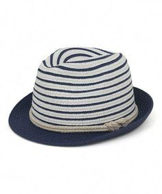 0fad2178a5a White  amp  Navy Stripe Fedora by Magid