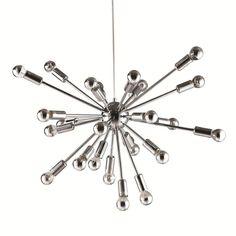 """Spark Hanging Chandelier 23"""", Silver"""