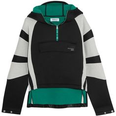 adidas Originals Cotton jersey-paneled neoprene hooded top (€51) ❤ liked on Polyvore featuring tops, black, cut-out crop tops, hooded top, adidas originals, hooded crop top and structured crop top