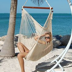 Large Caribbean Hammock Chair - 48 Inch - Polyester - Hanging Chair - cream, and other colors.