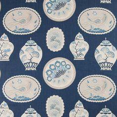 Warwick Fabrics : CHERRY GARDEN, Colour COBALT