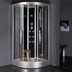 """Check out the Ariel Bath DZ963F8 Platinum 39-2/5""""W Steam Shower Enclosure in Aluminum priced at $3,030.50 at Homeclick.com."""