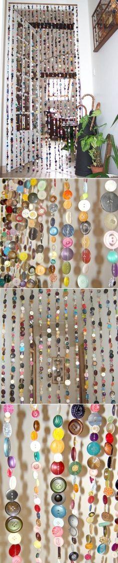 DIY Curtains Made of Buttons,OLHEM ESTA IDEIA GENIAL,DE SE APROVEITAR BOTÕES E PEDRINHAS ,E FAZER UMA CURTINA,SENSACIONAL