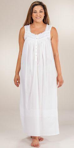 Eileen West Nightgown - Cotton Sleeveless Lawn Ballet Gown - White Castile  Sleeping Gown 3b93609db