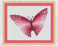 Rainbow butterfly cross stitch pattern PDF cross stitch