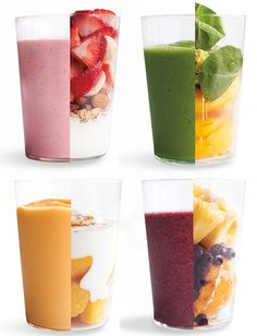 Clockwise  {Fruit & Oat}: Strawberries, Banana, Almonds, Oats, Vanilla Yogurt, Maple Syrup  {Green Ginger-Peach}: Baby Spinach, Grated peeled fresh Ginger, Peaches, Honey, Water  {Tropical Blueberry}: Sugar, Pineapple, Blueberries, Orange, Water  {Mango and Yogurt}: Ground Cinnamon, Plain Yogurt, Mango, Honey, Lime Juice