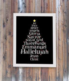 Christmas Word Tree  8 x 10 Christian Christmas Art by FlockofSix, $15.00