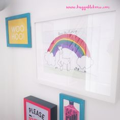 How to: cleverly display kids art Drawing Now, Drawing For Kids, Colorful Frames, Colorful Decor, Fun Crafts For Kids, Art For Kids, Colourful Living Room, Rainbow Crafts, House Colors