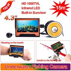 """Fishing: Blueskysea 4.3"""" Color LCD Monitor 15m Cable 1000TVL Wearable Fish Finder Underwater Video Camera Fishing Camera Buit-in Sunshield -- See this great product."""