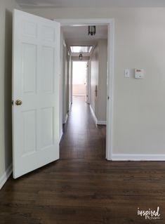 Refinished Hardwood Floors with Dark Walnut Stain and Satin Poly Finish Dark Walnut Floors, Walnut Hardwood Flooring, Dark Walnut Stain, Red Oak Floors, Laminate Flooring, Vinyl Flooring, Hardwood Floor Stain Colors, Refinishing Hardwood Floors, Wood Stain