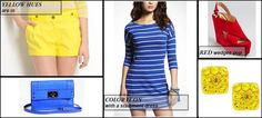 Colorful statement pieces highlighted on the blog: http://infoodiefashion.com/spring-trend-primary-color-pop/