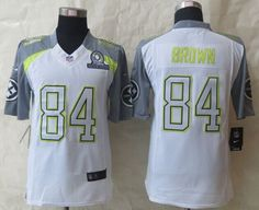 """$25.88 at """"MaryJersey"""" (maryjerseyelway@gmail.com) Nike Steelers No.84 Antonio Brown White Pro Bowl Men's Stitched NFL Elite Team Carter Jersey"""