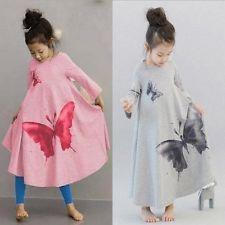 Toddler Kids Baby Girls Butterfly Dress Long Sleeve Princess Party Tutu Dresses