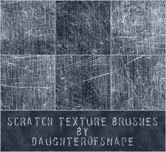 Photoshop scratch brush set. The pic shows 6 little gray squares that are all scratched up with white scratches.