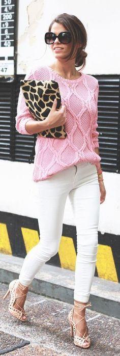 pink knit + leopard clutch purse