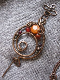 wire+shawl+pins | Wire Wrapped Copper Shawl Pin - Copper Wire Shawl Pin - Scarf Sweater ...