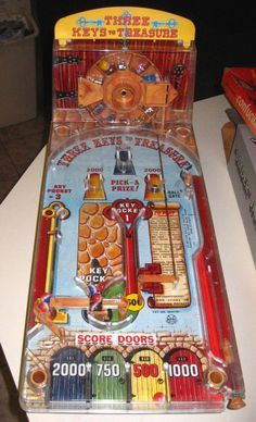 """1950's (i believe) Marx Pinball """"Three Keys to Treasure"""". I remember playing this on summer breaks at my Grandma's house. UPDATE - Managed to pick up a complete version in the box on eBay!  #toys #collectibles #pinball #marx"""